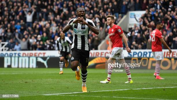 Chancel Mbemba of Newcastle celebrates after scoring the second goal during the Sky Bet Championship match between Newcastle United and Barnsley at...