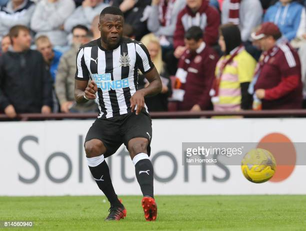 Chancel Mbemba of Newcastle during a preseason friendly match between Heart of Midlothian and Newcastle United on July 14 2017 in Edinburgh Scotland