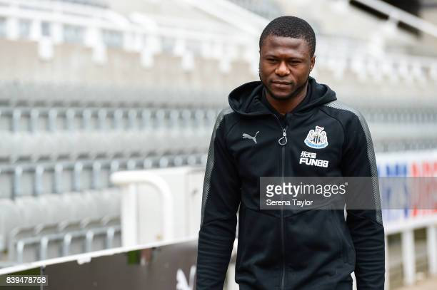 Chancel Mbemba of Newcastle United arrives prior to kick off of the Premier League Match between Newcastle United and West Ham United at StJames'...