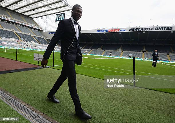 Chancel Mbemba of Newcastle United arrvies prior to the Barclays Premier League match between Newcastle United and Southampton at St James' Park on...