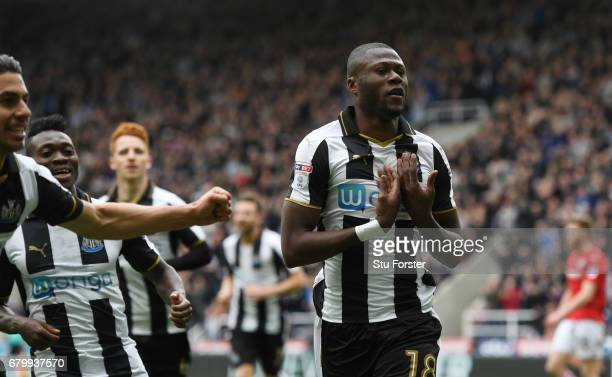 Chancel Mbemba of Newcastle United celebrates scoring his sides second goal during the Sky Bet Championship match between Newcastle United and...
