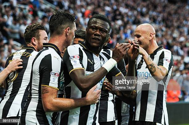 Chancel Mbemba of Newcastle United celebrates with teammates after Isaac Hayden scored the opening goal during the Sky Bet Championship match between...