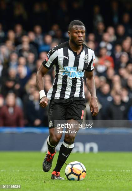 Chancel Mbemba of Newcastle United controls the ball during The FA Cup Fourth Round between Chelsea and Newcastle United at Stamford Bridge on...