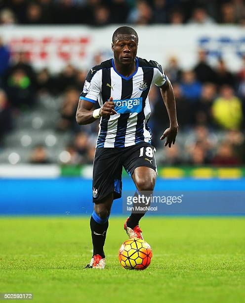 Chancel Mbemba of Newcastle United controls the ball during the Barclays Premier League match between Newcastle and Everton at St James Park on...