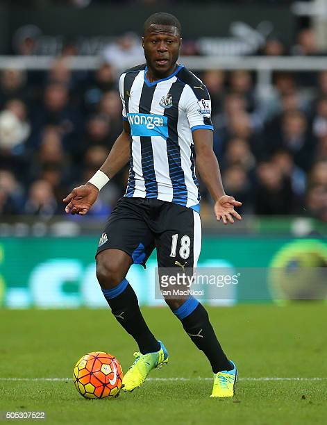Chancel Mbemba of Newcastle United controls the ball during the Barclays Premier League match between Newcastle United and West Ham United at St...
