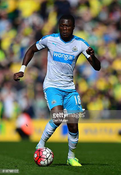 Chancel Mbemba of Newcastle United controls the ball during the Barclays Premier League match between Norwich City and Newcastle United at Carrow...