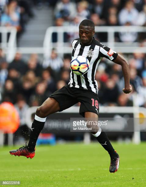 Chancel Mbemba of Newcastle United controls the ball during the Premier League match between Newcastle United and Stoke City at St James Park on...