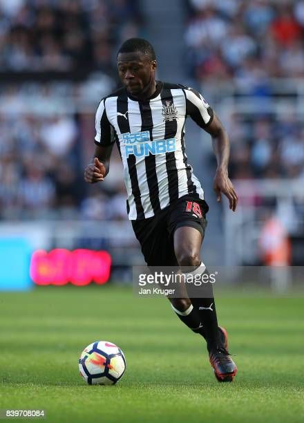 Chancel Mbemba of Newcastle United during the Premier League match between Newcastle United and West Ham United at St James Park on August 26 2017 in...