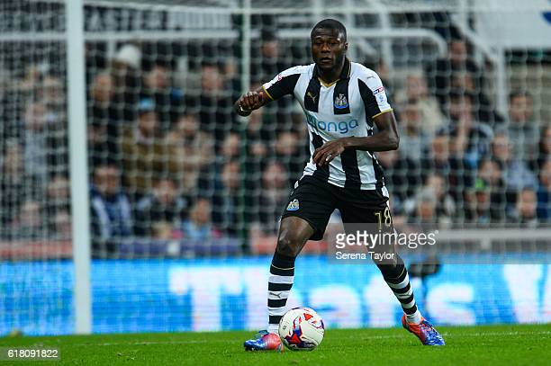 Chancel Mbemba of Newcastle United looks to pass the ball during the EFL Cup Fourth Round Match between Newcastle United and Preston North End at...