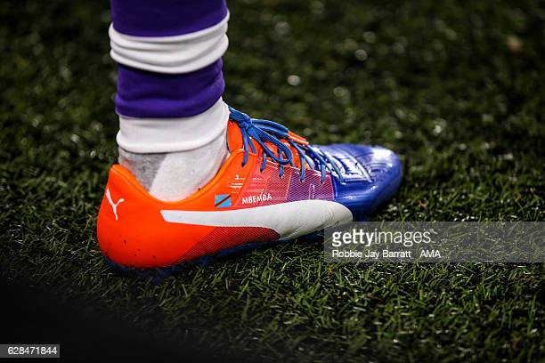 Chancel Mbemba of Newcastle United puma football boots during the EFL Cup QuarterFinal match between Hull City and Newcastle United at KCOM Stadium...