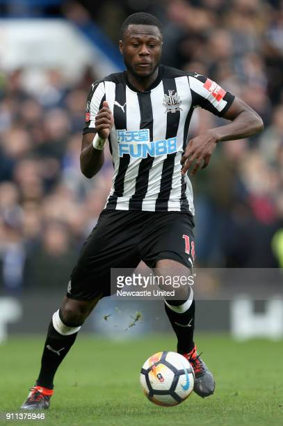Chancel Mbemba of Newcastle United runs with the ball during The Emirates FA Cup Fourth Round match between Chelsea and Newcastle on January 28 2018...