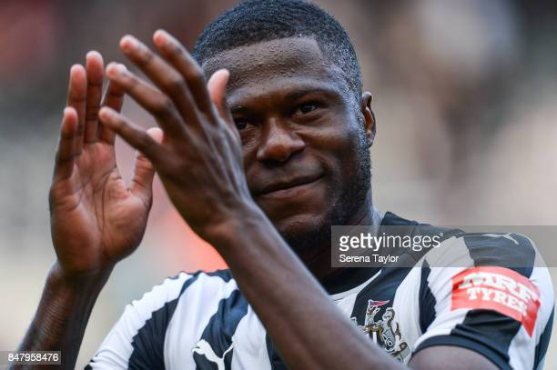 Chancel Mbemba of Newcastle United walks off the pitch after Newcastle win the Premier League match between Newcastle United and Stoke City at...
