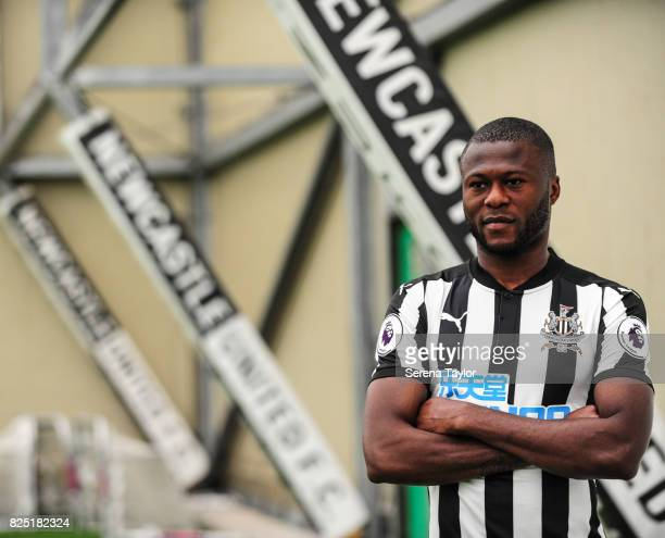 Chancel Mbemba poses during the Newcastle United Media Photo Call Day at the Newcastle United Training ground on July 31 in Newcastle upon Tyne...