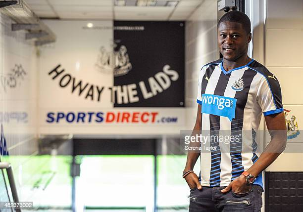 Chancel Mbemba poses for photographs in the tunnel at StJames Park on July 24 2015 in Newcastle upon Tyne England