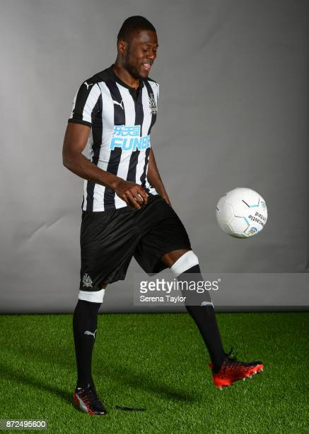 Chancel Mbemba poses for photos during the Newcastle United First Team Photocall at The Newcastle United Training Centre on September 25 in Newcastle...