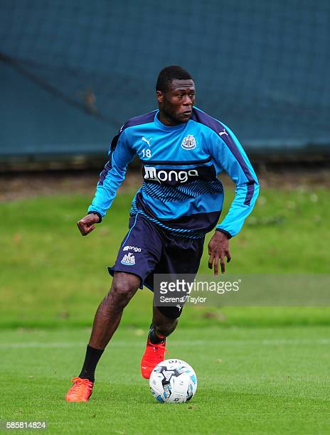 Chancel Mbemba runs with the ball during the Newcastle United training session at the Newcastle United Training Centre on August 4 in Newcastle upon...