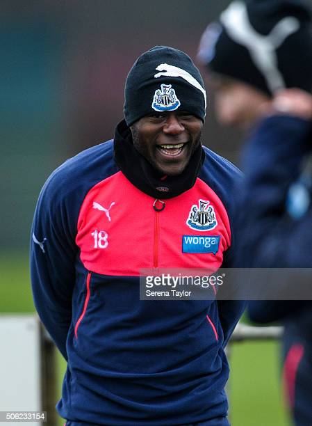 Chancel Mbemba smiles during the Newcastle United Training session at The Newcastle United Training Centre on January 22 in Newcastle upon Tyne...