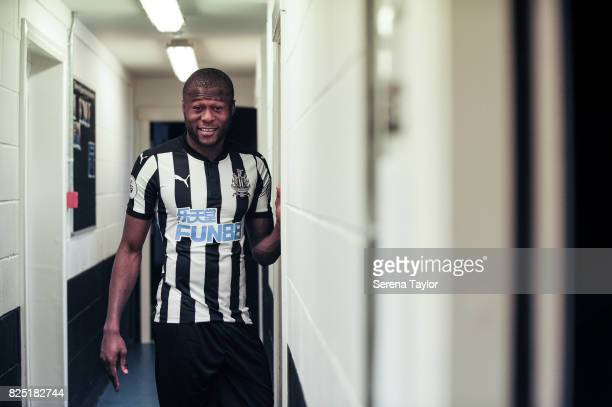 Chancel Mbemba stands in the corridor during the Newcastle United Media Photo Call Day at the Newcastle United Training ground on July 31 in...