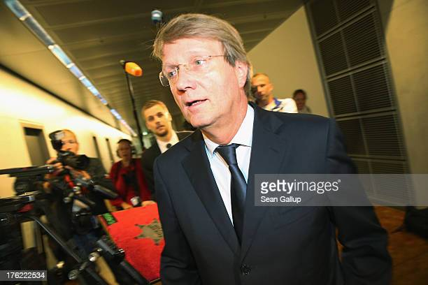 Chancellery Minister Ronald Pofalla arrives to testify at a hearing of the parliamentary control commission of the Bundestag on August 12 2013 in...