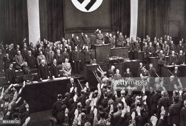Chancellor Adolf Hitler making a speech before the Reichstag Berlin 17th May 1933 Hitler setting out his foreign policy programme From Deutsche...