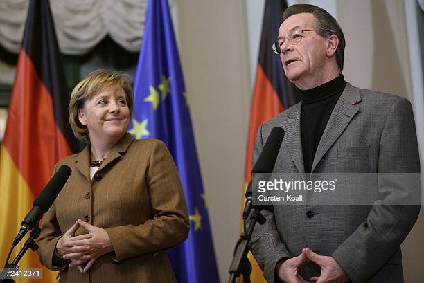 Chancellor Angela Merkel and Vice Chancellor and Minister of Work and Social Issues Franz Muentefering give a short press conference following the...
