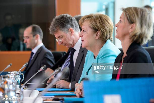 Chancellor Angela Merkel holds Bilateral talks with Chinese President Xi Jinping at the German Chancellery on July 5 2017 in Berlin Germany Chinese...