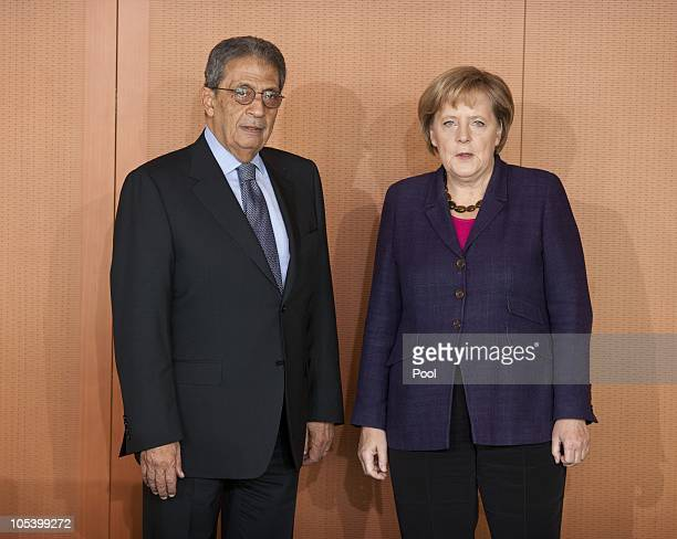 Chancellor Angela Merkel welcomes Amre Moussa, Secretary General of the League of Arab States, for a meeting at the Chancellery on October 14, 2010...