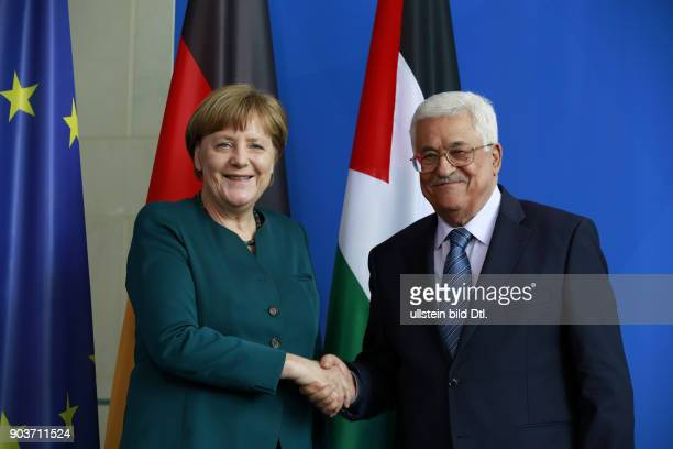 Chancellor Angela Merkel welcomes the President of the Palestinian Authority Mahmoud Abbas on 19 April 2016 at the Federal Chancellery in Berlin...
