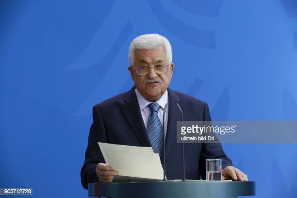 Chancellor Angela_Merkel welcomes the President of the Palestinian Authority Mahmoud Abbas on 19 April 2016 at the Federal Chancellery in Berlin...