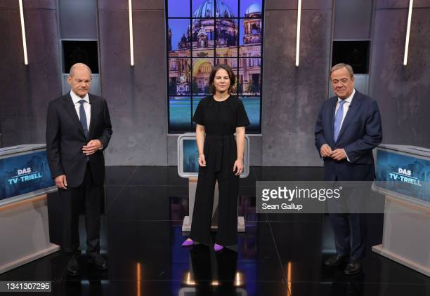 Chancellor candidates Olaf Scholz of the German Social Democrats , Annalena Baerbock of the Greens Party and Armin Laschet of the Christian Democrats...