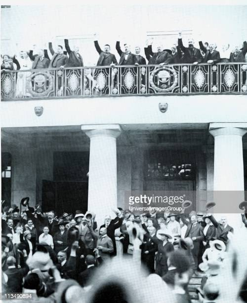 Chancellor Ebert in front of the National Assembly building hailing the signing of the constitution of the Weimar Republic, 11 August 1919.
