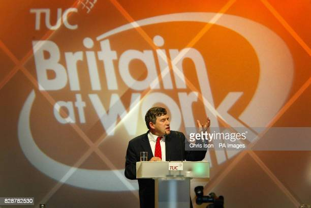 Chancellor for the Exchequer Gordon Brown speaks at the annual TUC conference in Brighton The Chancellor won loud applause from delegates when he...