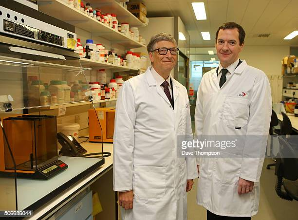 Chancellor George Osborne and cofounder of Microsoft Bill Gates during a visit to the Liverpool School of Tropical Medicine in Liverpool England on...