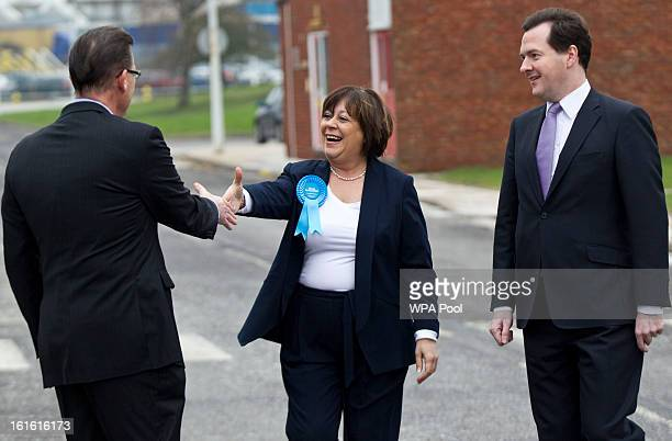 Chancellor George Osborne and Conservative candidate Maria Hutchings are greeted by the company's UK CEO Paul Atkinson as they make a visit to the...