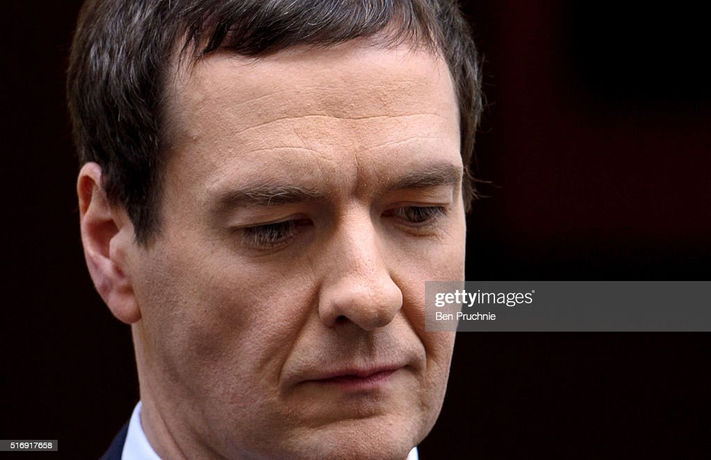 Chancellor George Osborne departs Number 11 Downing Street on March 22, 2016 in London, England. The Chancellor will today defend the 2016 budget ahead of a vote by the House of Commons.