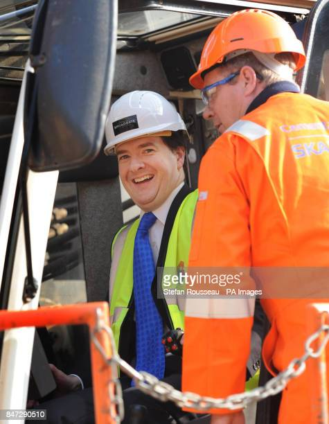 Chancellor George Osborne helps to start work on the new 5 Broadgate development in the City Of London today where new offices for UBS will be built