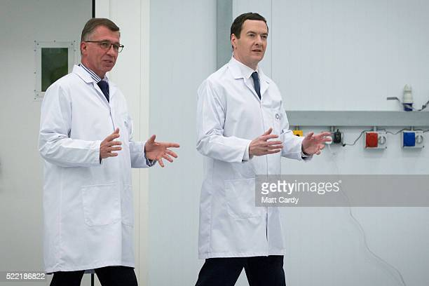 Chancellor George Osborne is given a tour of the National Composites Centre at the Bristol and Bath Science Park on April 18 2016 in Bristol England...