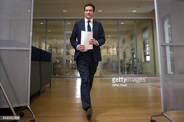 Chancellor George Osborne speaks at The Treasury where he moved to try to calm market turmoil triggered by the proBrexit vote on June 27 2016 in...