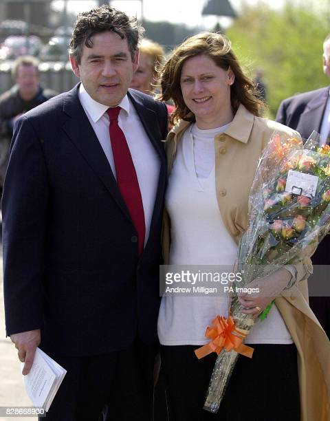 Chancellor Gordon Brown and his wife Sarah at the mining village of Hill of Beath to unveil a statue commemorating football legend Jim Baxter...