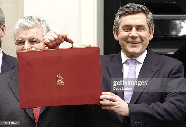 Chancellor Gordon Brown during Chancellor Gordon Brown Presents Spring Budget March 22 2006 at Downing Street in London Great Britain