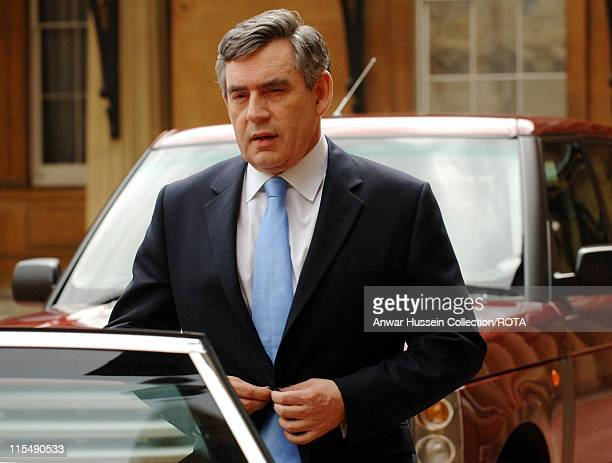 Chancellor Gordon Brown leaves Buckingham Palace after being invited to form a government by the Queen on June 27 2007