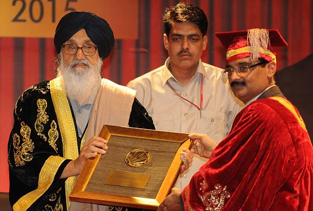 Chancellor LPU Ashok Mittal honouring the chief minister Parkash Singh Badal during the 4th convocation at Lovely Professional University on April 20.