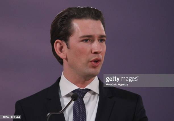 Chancellor of Austria Sebastian Kurz and Serbian President Aleksandar Vucic hold a joint press conference following their meeting at Palace of Serbia...