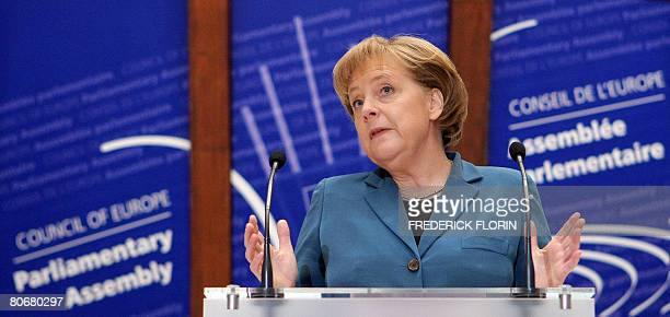 Chancellor of Germany Angela Merkel addresses the parliamentary assembly of the Council of Europe on April 15, 2008 in the northeastern French city...