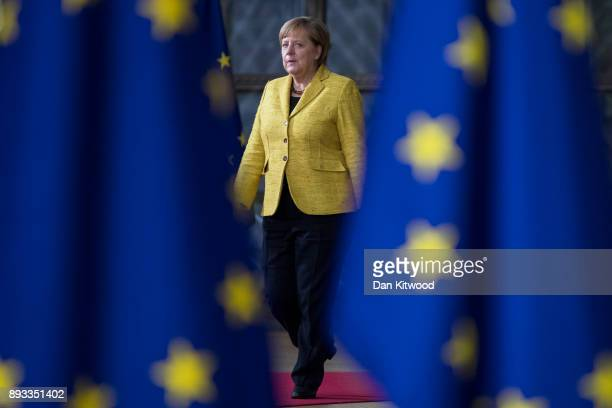 Chancellor of Germany Angela Merkel arrives for the European Union leaders summit at the European Council on December 14 2017 in Brussels Belgium The...