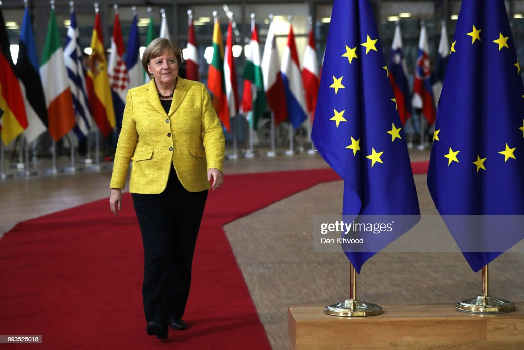 Chancellor of Germany Angela Merkel	arrives for the European Union leaders summit at the European Council on December 14, 2017 in Brussels, Belgium. The European Council summit is meeting for two days to discuss issues related to Brexit, defence, education, immigration and foreign policy.