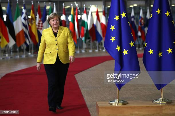 Chancellor of Germany Angela Merkel arrives for the European Union leaders summit at the European Council on December 14, 2017 in Brussels, Belgium....