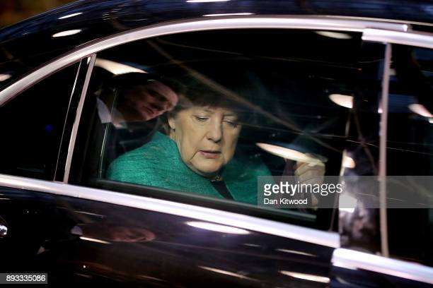 Chancellor of Germany Angela Merkel arrives for the second day of the European Union leaders summit at the European Council on December 15 2017 in...