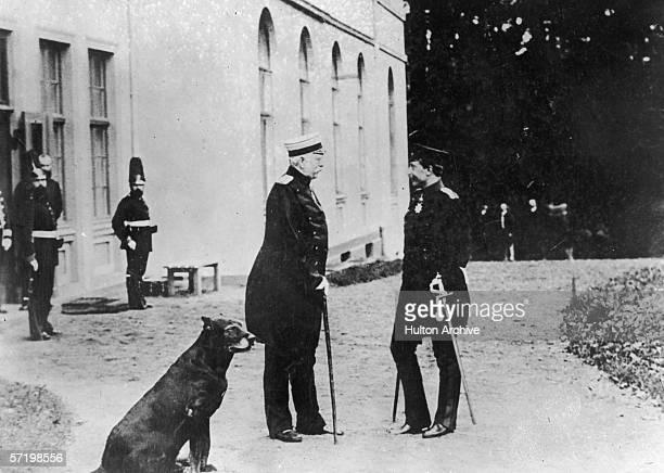 Chancellor of Germany Prince Otto von Bismarck with Kaiser Wilhelm II in front of Bismarck's Friedrichsruh residence 30th October 1888