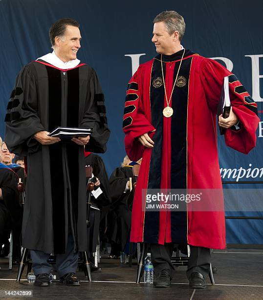 Chancellor of Liberty University Jerry Falwell Jr welcomes Republican Presidential hopeful Mitt Romney to Liberty University before delivering the...